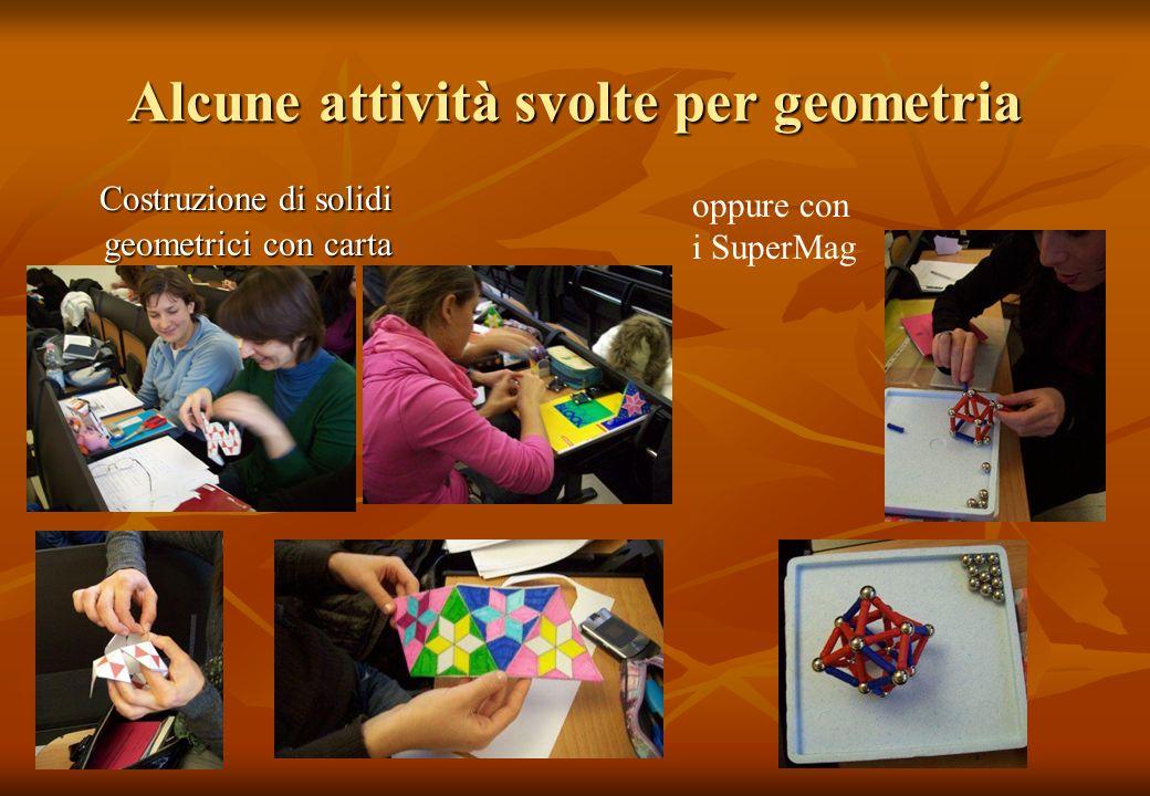 Alcune attività svolte per geometria Costruzione di solidi geometrici con carta Costruzione di solidi geometrici con carta oppure con i SuperMag