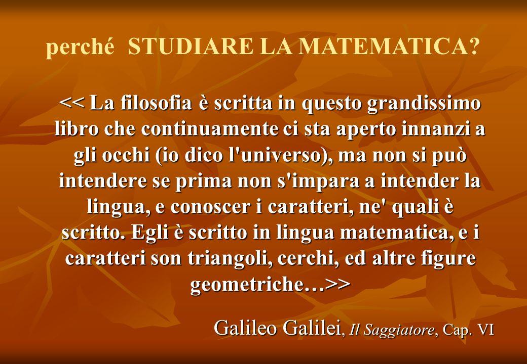 > > Galileo Galilei, Il Saggiatore, Cap. VI perché STUDIARE LA MATEMATICA?
