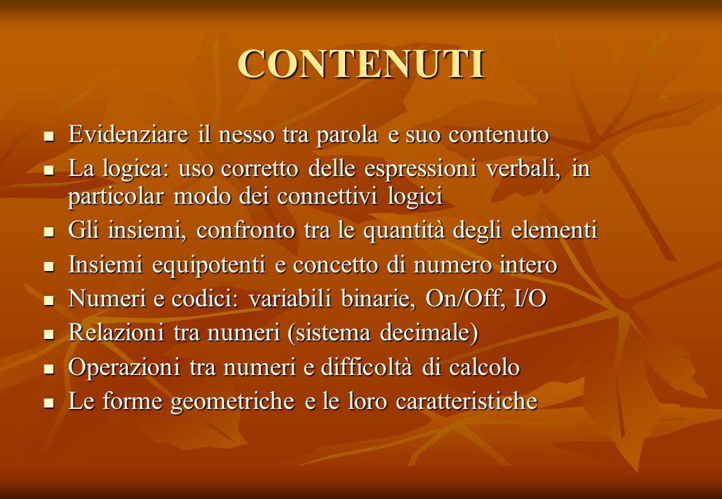 CONTENUTI Evidenziare il nesso tra parola e suo contenuto Evidenziare il nesso tra parola e suo contenuto La logica: uso corretto delle espressioni ve