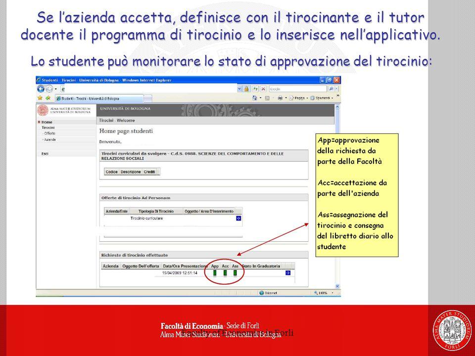 Faculty of Economics in Forlì Se lazienda accetta, definisce con il tirocinante e il tutor docente il programma di tirocinio e lo inserisce nellapplicativo.