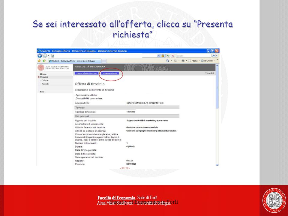 Faculty of Economics in Forlì Se sei interessato allofferta, clicca su Presenta richiesta