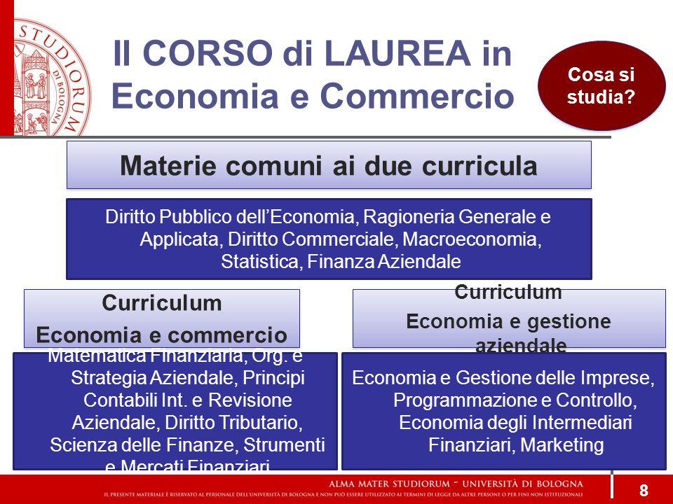 Il CORSO di LAUREA in Economia e Commercio 8 Curriculum Economia e commercio Curriculum Economia e commercio Curriculum Economia e gestione aziendale