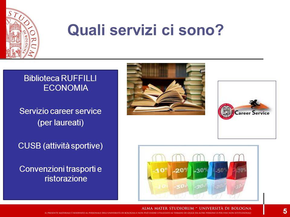 Quali servizi ci sono? 5 Biblioteca RUFFILLI ECONOMIA Servizio career service (per laureati) CUSB (attività sportive) Convenzioni trasporti e ristoraz