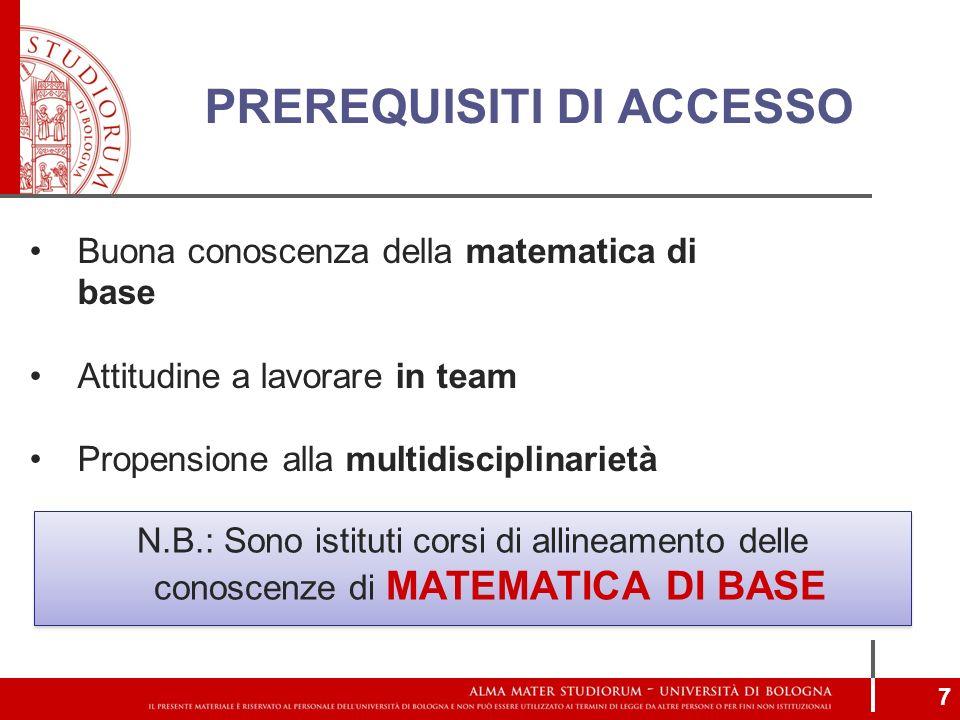 PREREQUISITI DI ACCESSO N.B.: Sono istituti corsi di allineamento delle conoscenze di MATEMATICA DI BASE Buona conoscenza della matematica di base Att