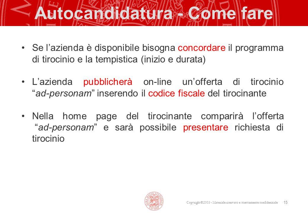 Copyright©2003 - Materiale riservato e strettamente confidenziale Autocandidatura - Come fare Se lazienda è disponibile bisogna concordare il programm