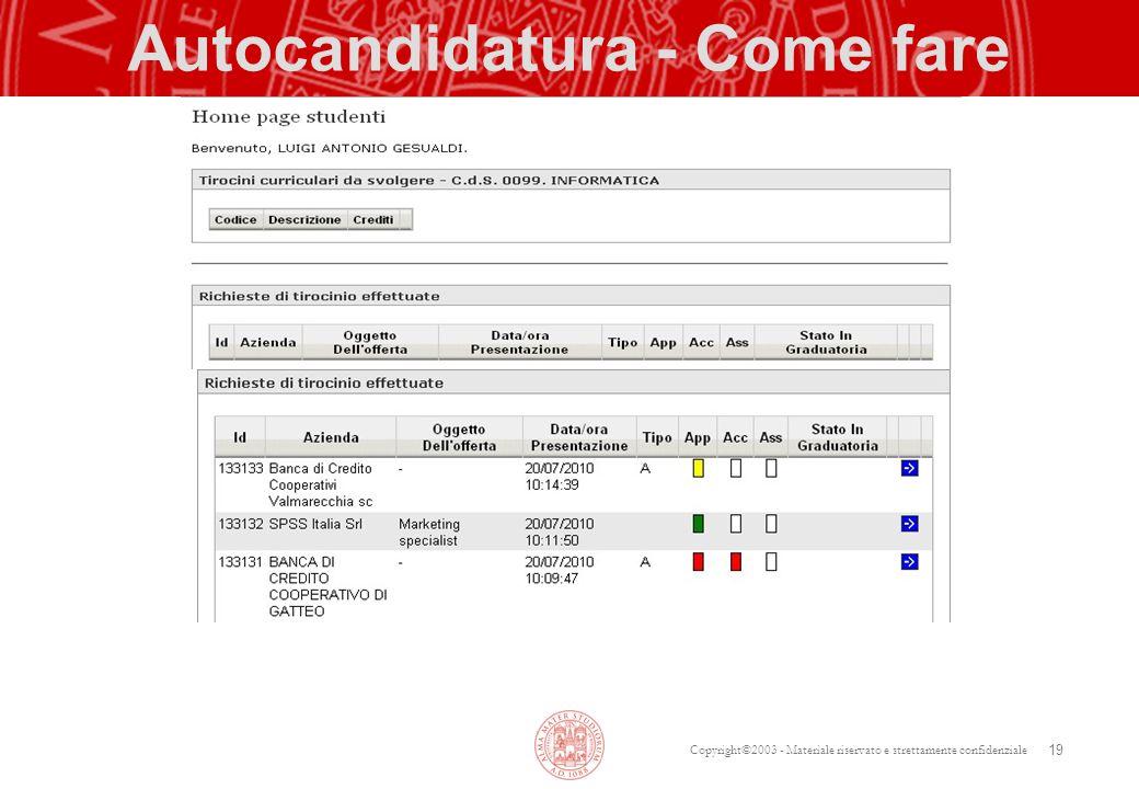 Copyright©2003 - Materiale riservato e strettamente confidenziale Autocandidatura - Come fare 19