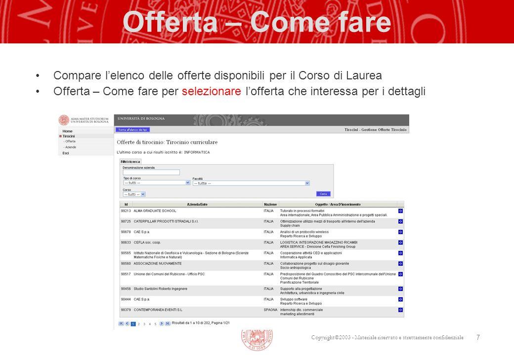 Copyright©2003 - Materiale riservato e strettamente confidenziale Offerta – Come fare Compare lelenco delle offerte disponibili per il Corso di Laurea