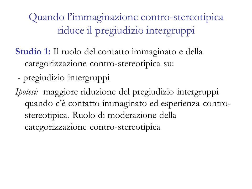 Quando limmaginazione contro-stereotipica riduce il pregiudizio intergruppi Studio 1: Il ruolo del contatto immaginato e della categorizzazione contro