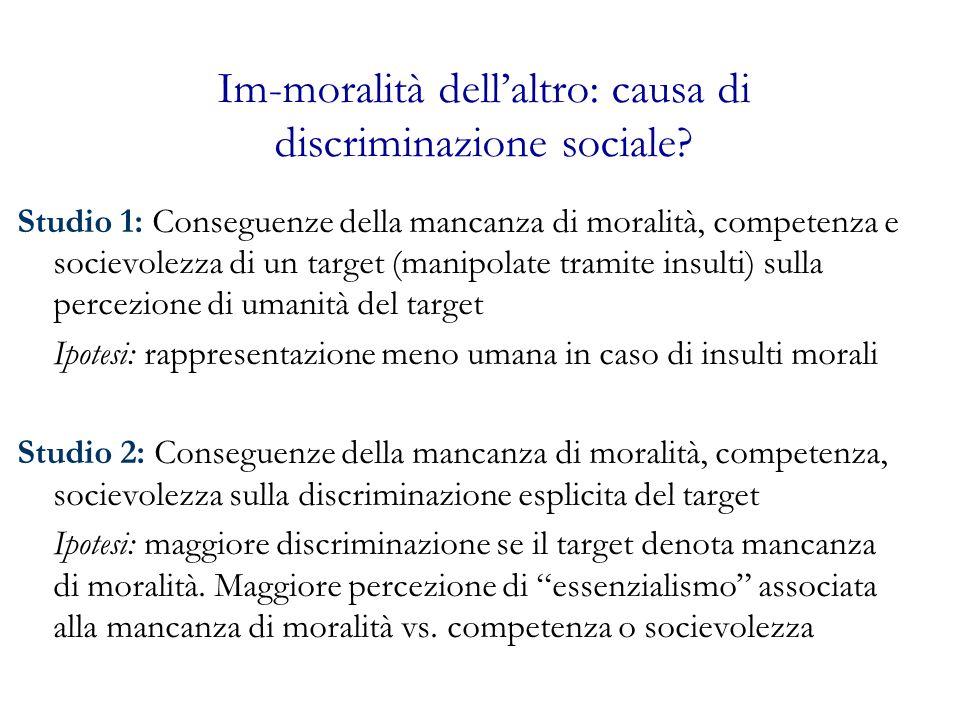Im-moralità dellaltro: causa di discriminazione sociale? Studio 1: Conseguenze della mancanza di moralità, competenza e socievolezza di un target (man