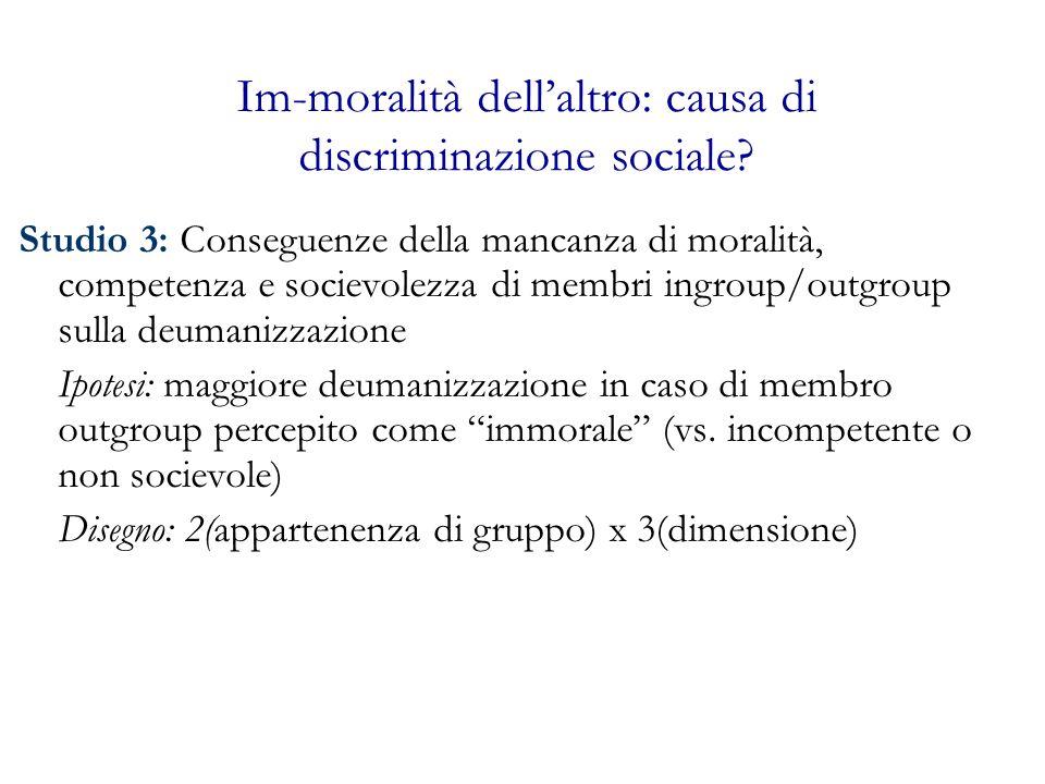 Im-moralità dellaltro: causa di discriminazione sociale? Studio 3: Conseguenze della mancanza di moralità, competenza e socievolezza di membri ingroup