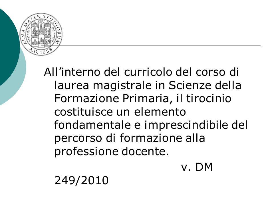 Allinterno del curricolo del corso di laurea magistrale in Scienze della Formazione Primaria, il tirocinio costituisce un elemento fondamentale e impr