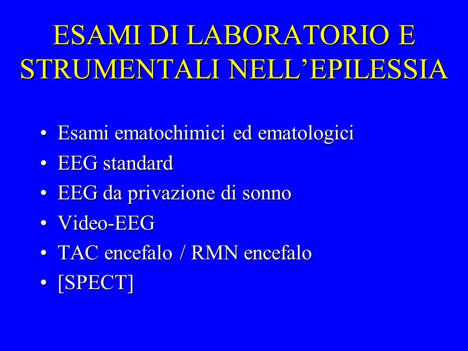 ESAMI DI LABORATORIO E STRUMENTALI NELLEPILESSIA Esami ematochimici ed ematologiciEsami ematochimici ed ematologici EEG standardEEG standard EEG da pr