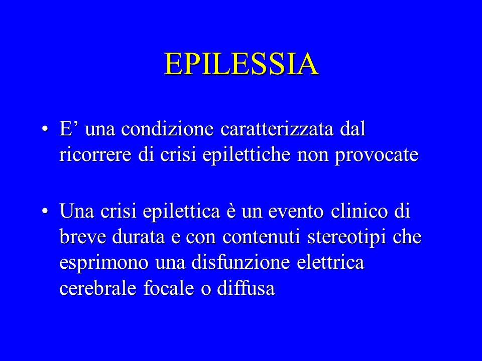 EPILESSIA E una condizione caratterizzata dal ricorrere di crisi epilettiche non provocateE una condizione caratterizzata dal ricorrere di crisi epile