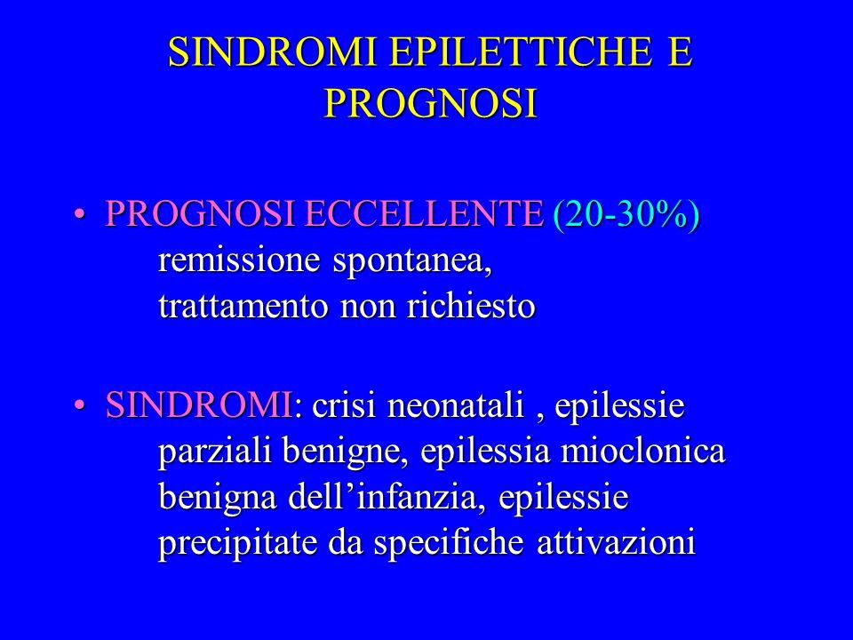 SINDROMI EPILETTICHE E PROGNOSI PROGNOSI ECCELLENTE (20-30%) remissione spontanea, trattamento non richiestoPROGNOSI ECCELLENTE (20-30%) remissione sp