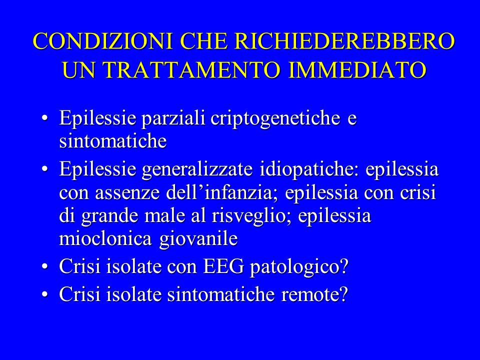 CONDIZIONI CHE RICHIEDEREBBERO UN TRATTAMENTO IMMEDIATO Epilessie parziali criptogenetiche e sintomaticheEpilessie parziali criptogenetiche e sintomat
