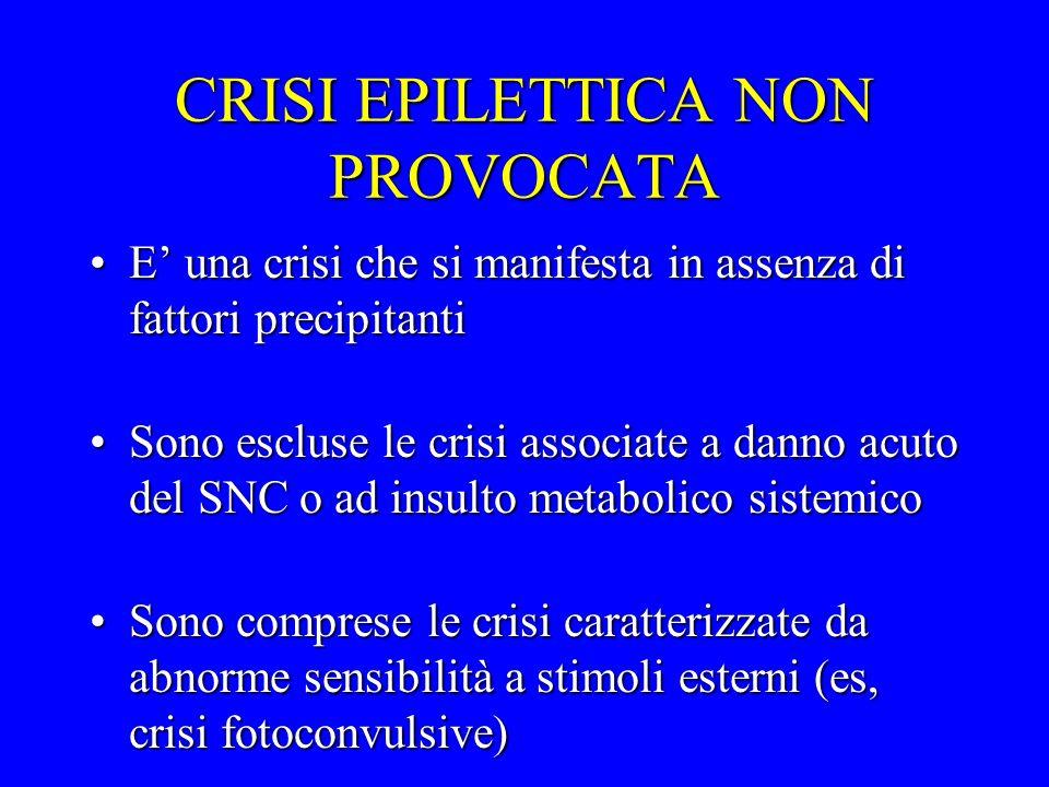 CRISI EPILETTICA NON PROVOCATA E una crisi che si manifesta in assenza di fattori precipitantiE una crisi che si manifesta in assenza di fattori preci