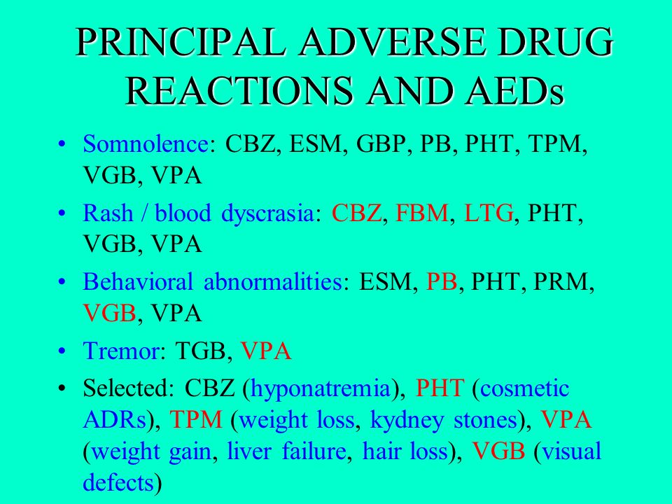 PRINCIPAL ADVERSE DRUG REACTIONS AND AEDs Somnolence: CBZ, ESM, GBP, PB, PHT, TPM, VGB, VPA Rash / blood dyscrasia: CBZ, FBM, LTG, PHT, VGB, VPA Behav