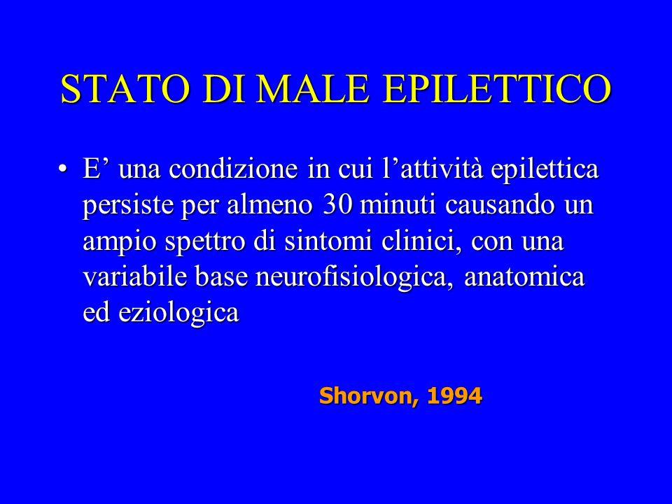 STATO DI MALE EPILETTICO E una condizione in cui lattività epilettica persiste per almeno 30 minuti causando un ampio spettro di sintomi clinici, con