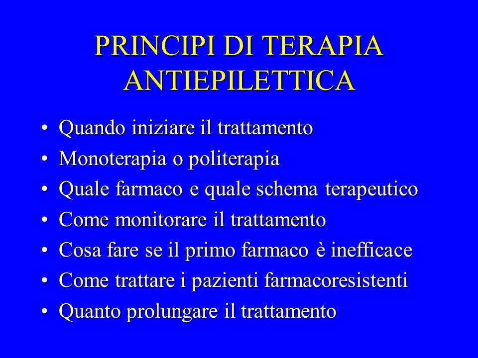 PRINCIPI DI TERAPIA ANTIEPILETTICA Quando iniziare il trattamentoQuando iniziare il trattamento Monoterapia o politerapiaMonoterapia o politerapia Qua