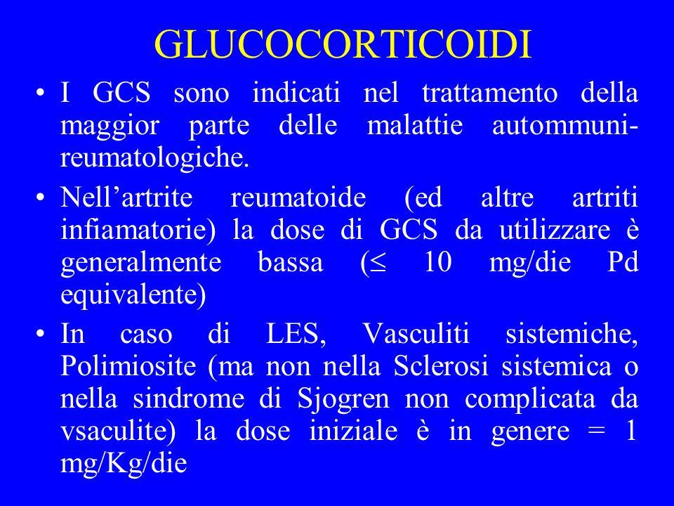 GLUCOCORTICOIDI I GCS sono indicati nel trattamento della maggior parte delle malattie autommuni- reumatologiche. Nellartrite reumatoide (ed altre art