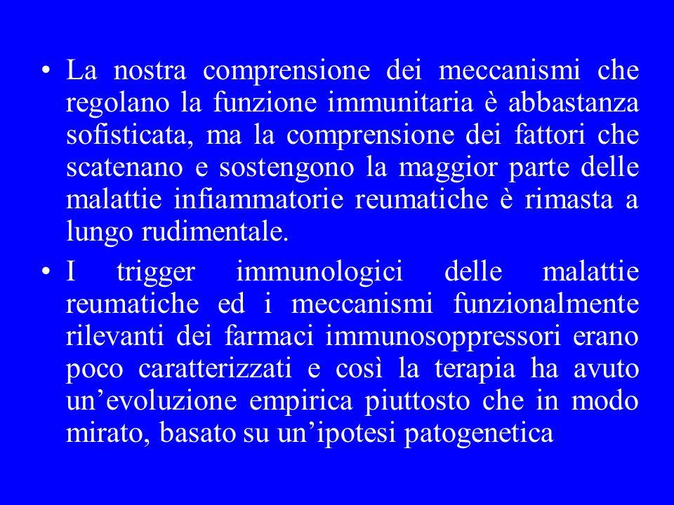 La nostra comprensione dei meccanismi che regolano la funzione immunitaria è abbastanza sofisticata, ma la comprensione dei fattori che scatenano e so