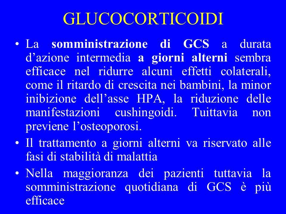 GLUCOCORTICOIDI La somministrazione di GCS a durata dazione intermedia a giorni alterni sembra efficace nel ridurre alcuni effetti colaterali, come il