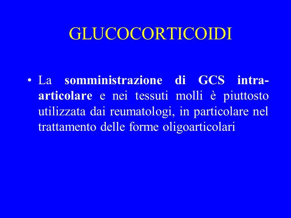 GLUCOCORTICOIDI La somministrazione di GCS intra- articolare e nei tessuti molli è piuttosto utilizzata dai reumatologi, in particolare nel trattament