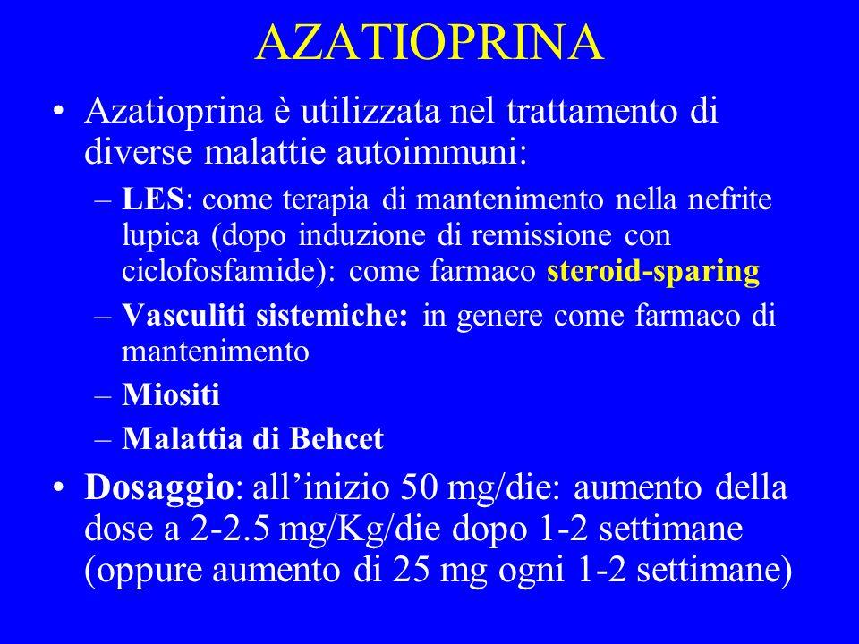 AZATIOPRINA Azatioprina è utilizzata nel trattamento di diverse malattie autoimmuni: –LES: come terapia di mantenimento nella nefrite lupica (dopo ind