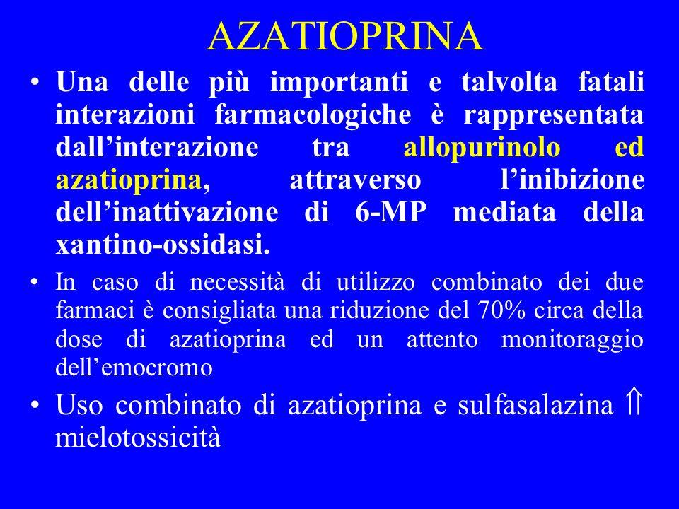 AZATIOPRINA Una delle più importanti e talvolta fatali interazioni farmacologiche è rappresentata dallinterazione tra allopurinolo ed azatioprina, att