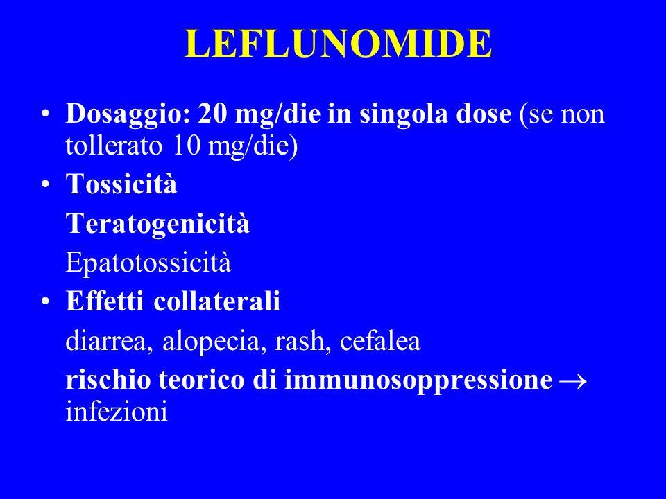 LEFLUNOMIDE Dosaggio: 20 mg/die in singola dose (se non tollerato 10 mg/die) Tossicità Teratogenicità Epatotossicità Effetti collaterali diarrea, alop