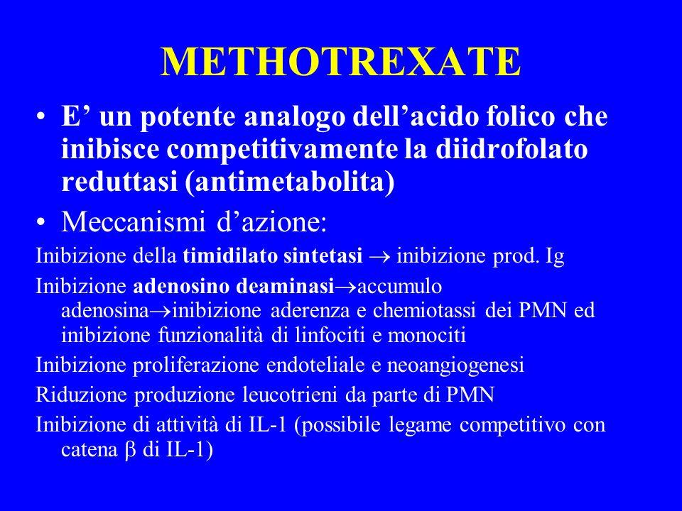 METHOTREXATE E un potente analogo dellacido folico che inibisce competitivamente la diidrofolato reduttasi (antimetabolita) Meccanismi dazione: Inibiz