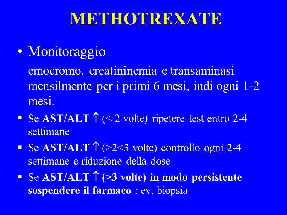 METHOTREXATE Monitoraggio emocromo, creatininemia e transaminasi mensilmente per i primi 6 mesi, indi ogni 1-2 mesi. Se AST/ALT (< 2 volte) ripetere t