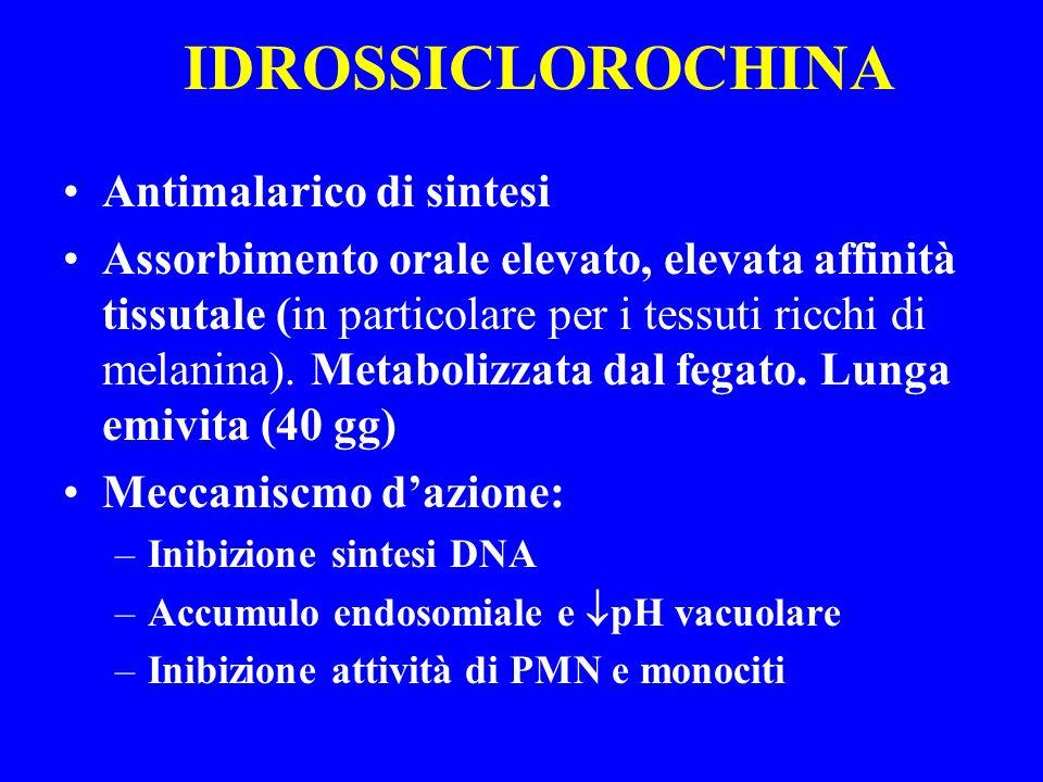 IDROSSICLOROCHINA Antimalarico di sintesi Assorbimento orale elevato, elevata affinità tissutale (in particolare per i tessuti ricchi di melanina). Me