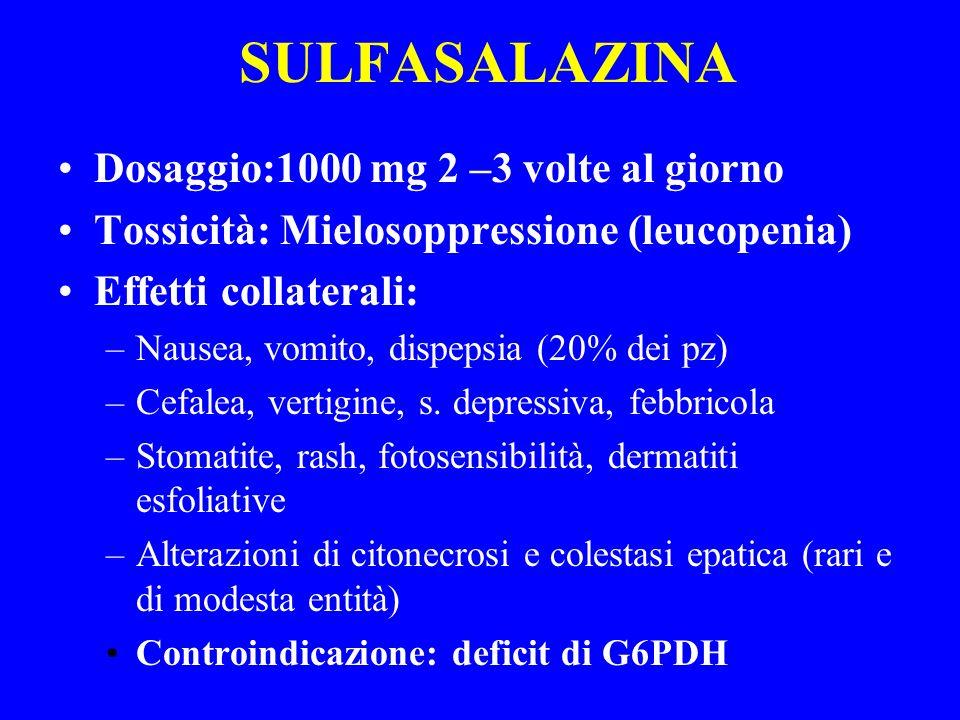 SULFASALAZINA Dosaggio:1000 mg 2 –3 volte al giorno Tossicità: Mielosoppressione (leucopenia) Effetti collaterali: –Nausea, vomito, dispepsia (20% dei