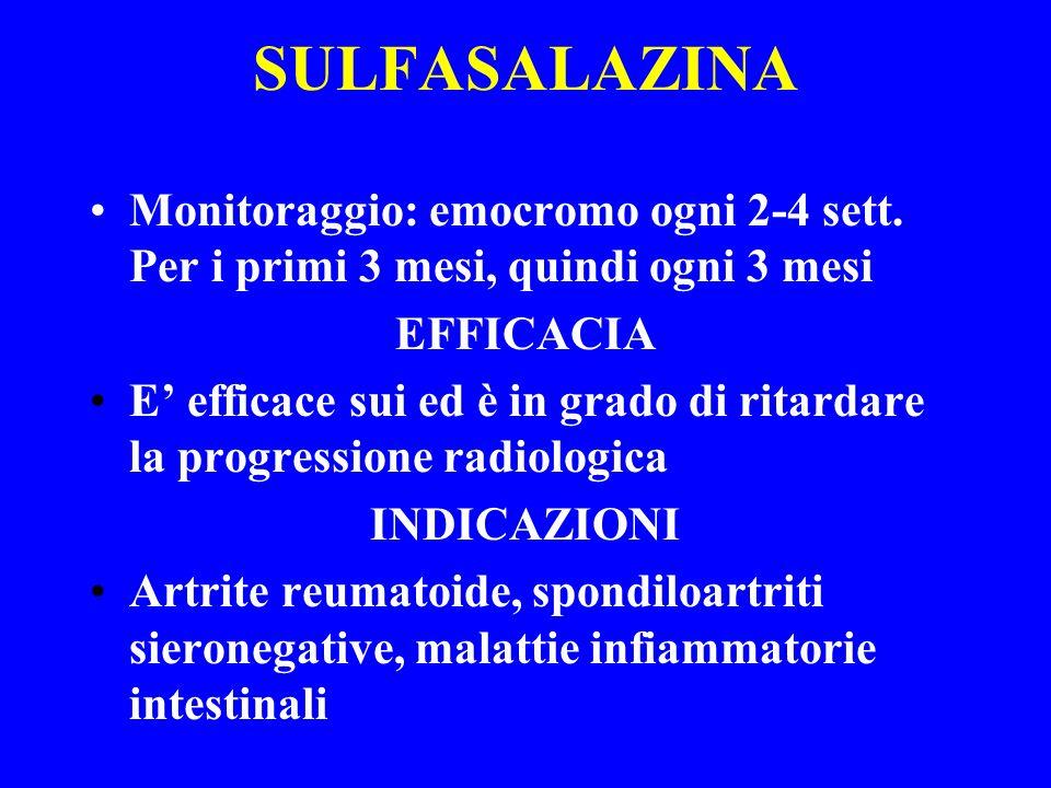 SULFASALAZINA Monitoraggio: emocromo ogni 2-4 sett. Per i primi 3 mesi, quindi ogni 3 mesi EFFICACIA E efficace sui ed è in grado di ritardare la prog