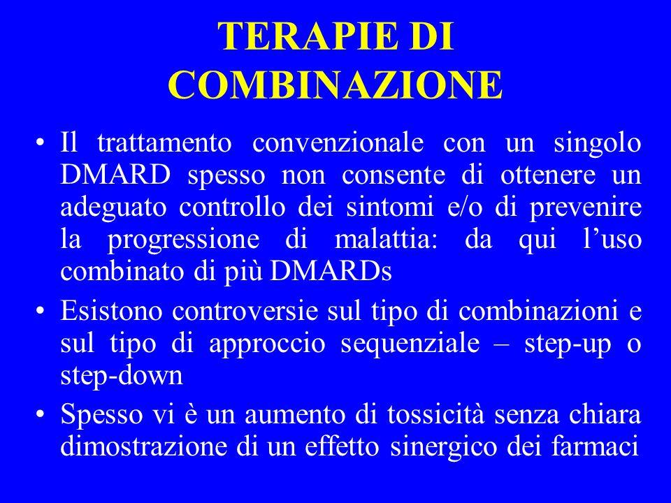 TERAPIE DI COMBINAZIONE Il trattamento convenzionale con un singolo DMARD spesso non consente di ottenere un adeguato controllo dei sintomi e/o di pre