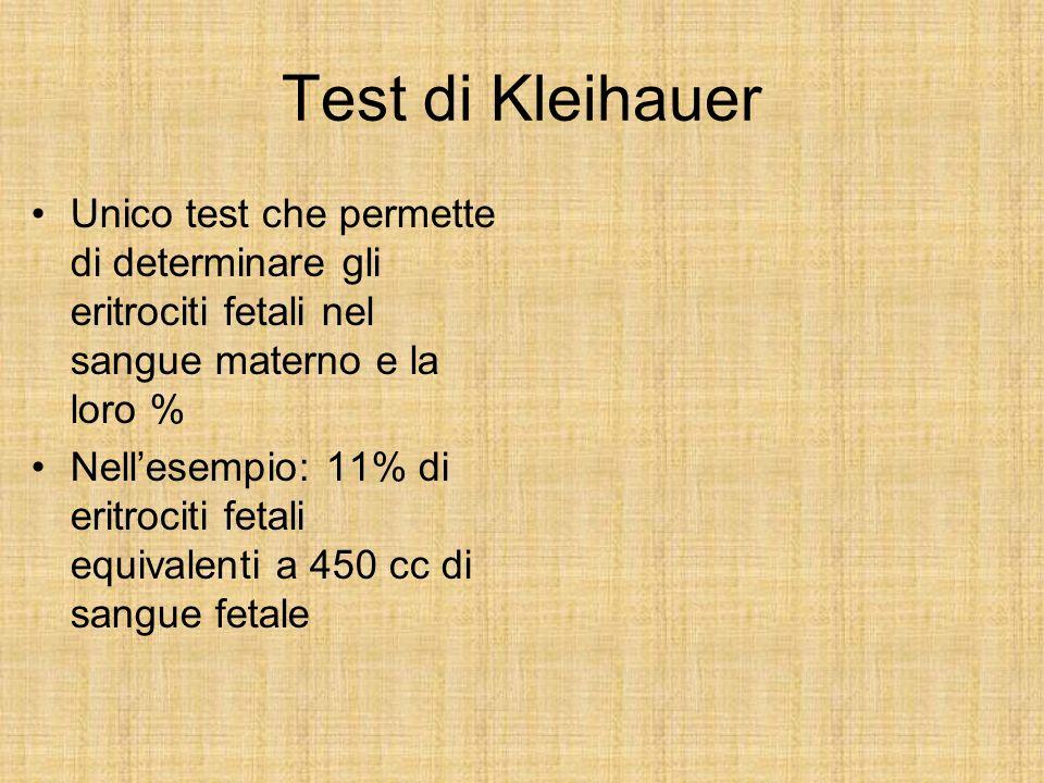 Test di Kleihauer Unico test che permette di determinare gli eritrociti fetali nel sangue materno e la loro % Nellesempio: 11% di eritrociti fetali eq
