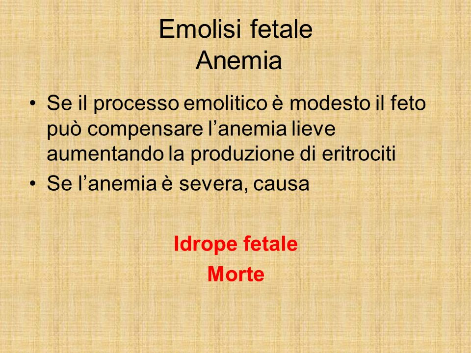 Emolisi fetale Anemia Se il processo emolitico è modesto il feto può compensare lanemia lieve aumentando la produzione di eritrociti Se lanemia è seve