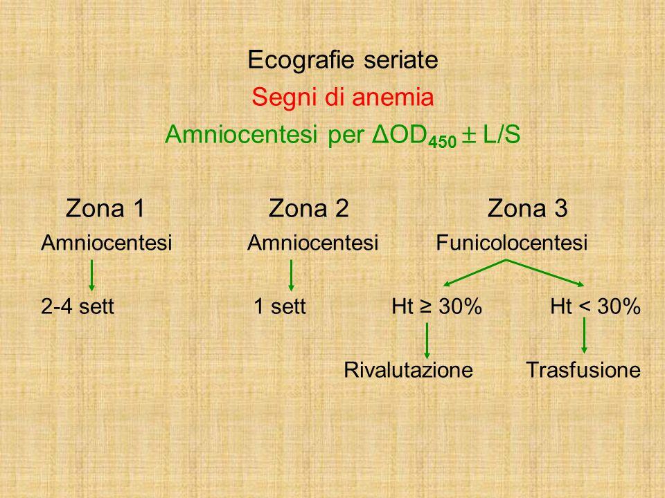 Ecografie seriate Segni di anemia Amniocentesi per ΔOD 450 L/S Zona 1 Zona 2 Zona 3 Amniocentesi Amniocentesi Funicolocentesi 2-4 sett 1 sett Ht 30% H