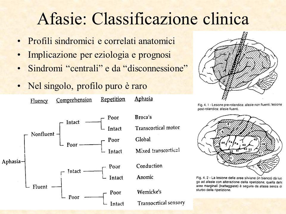 Afasie: Classificazione clinica Profili sindromici e correlati anatomici Implicazione per eziologia e prognosi Sindromi centrali e da disconnessione N
