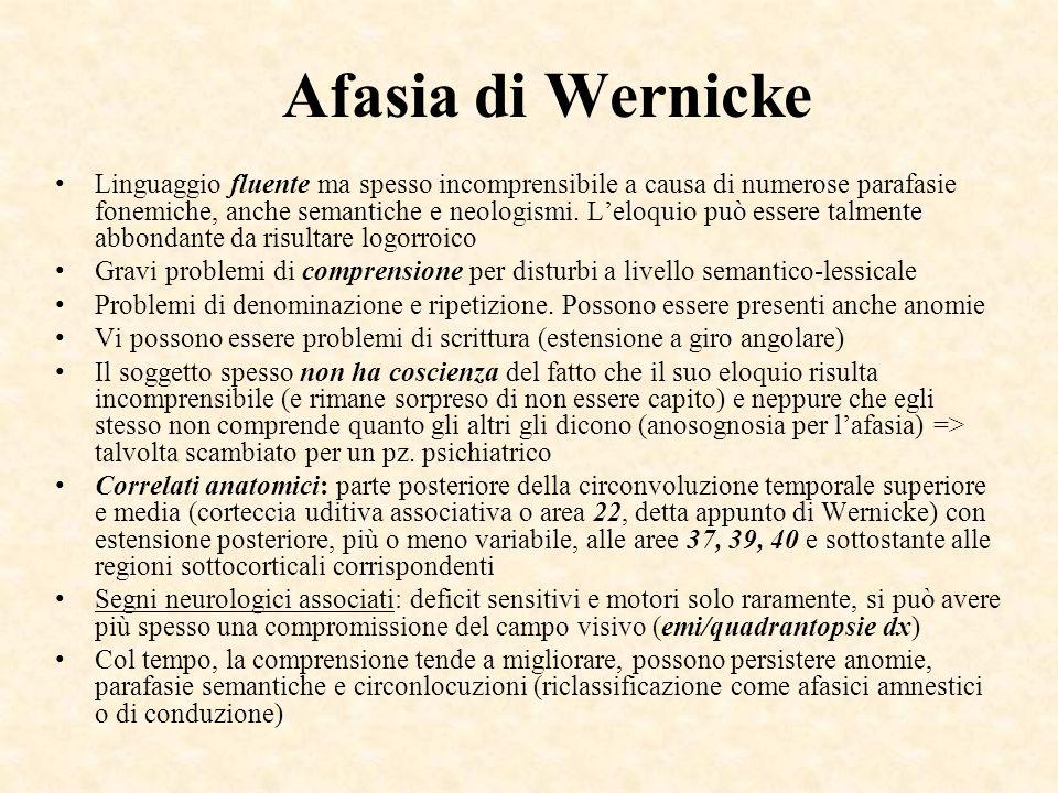 Afasia di Wernicke Linguaggio fluente ma spesso incomprensibile a causa di numerose parafasie fonemiche, anche semantiche e neologismi. Leloquio può e
