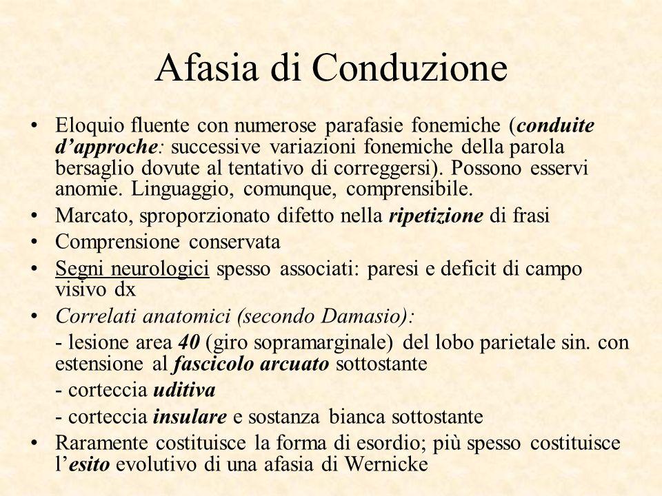 Afasia di Conduzione Eloquio fluente con numerose parafasie fonemiche (conduite dapproche: successive variazioni fonemiche della parola bersaglio dovu