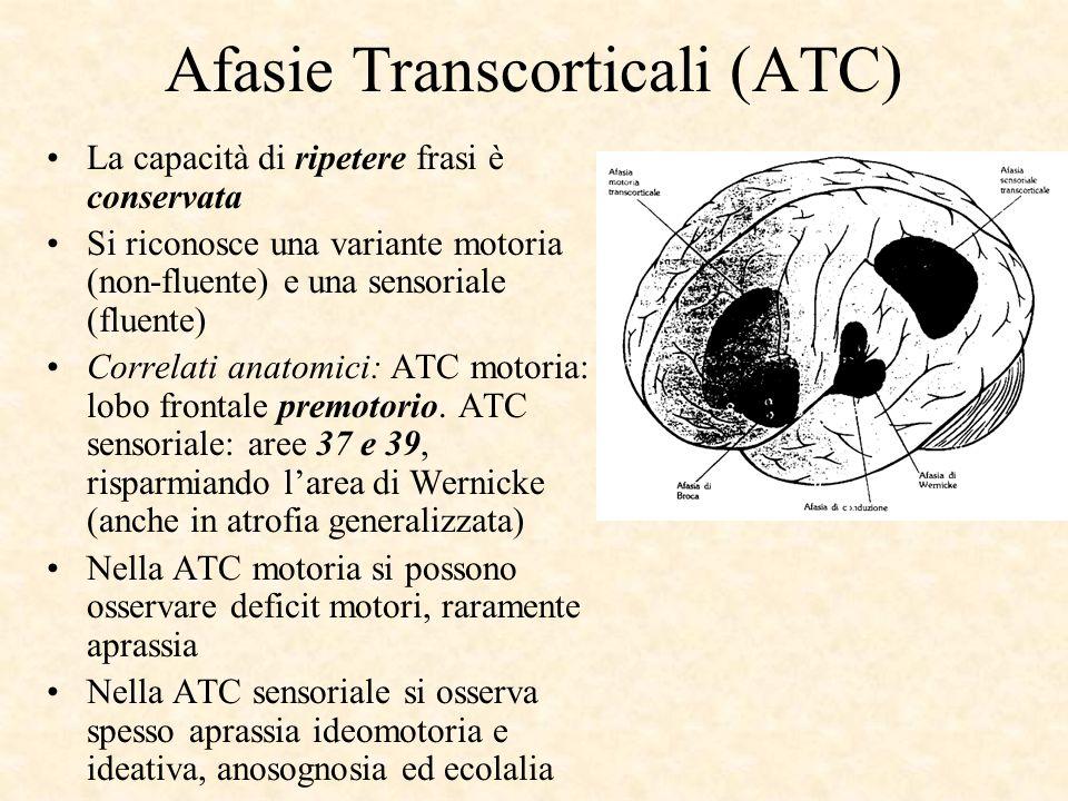 Afasie Transcorticali (ATC) La capacità di ripetere frasi è conservata Si riconosce una variante motoria (non-fluente) e una sensoriale (fluente) Corr