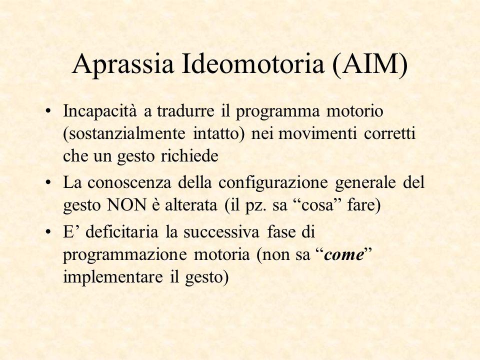 Aprassia Ideomotoria (AIM) Incapacità a tradurre il programma motorio (sostanzialmente intatto) nei movimenti corretti che un gesto richiede La conosc