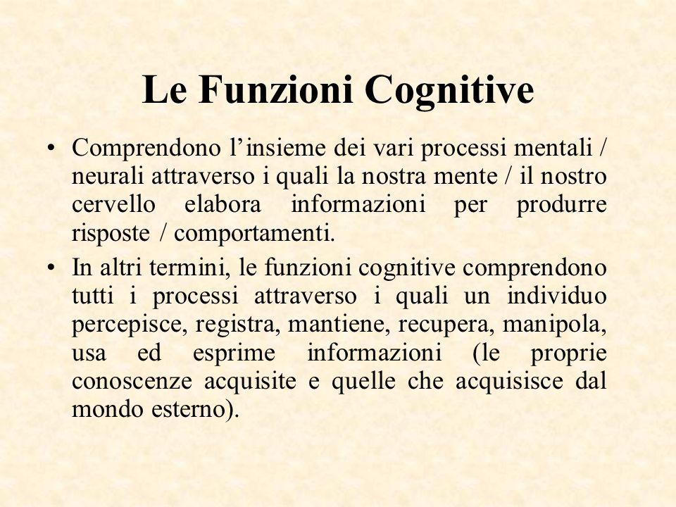 Le Funzioni Cognitive Comprendono linsieme dei vari processi mentali / neurali attraverso i quali la nostra mente / il nostro cervello elabora informa
