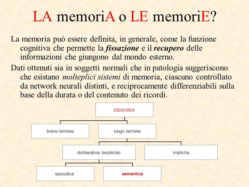 LA memoriA o LE memoriE? La memoria può essere definita, in generale, come la funzione cognitiva che permette la fissazione e il recupero delle inform
