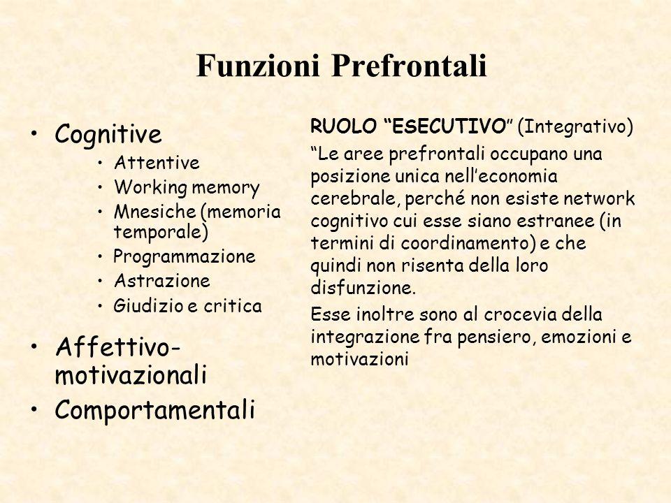 Funzioni Prefrontali Cognitive Attentive Working memory Mnesiche (memoria temporale) Programmazione Astrazione Giudizio e critica Affettivo- motivazio