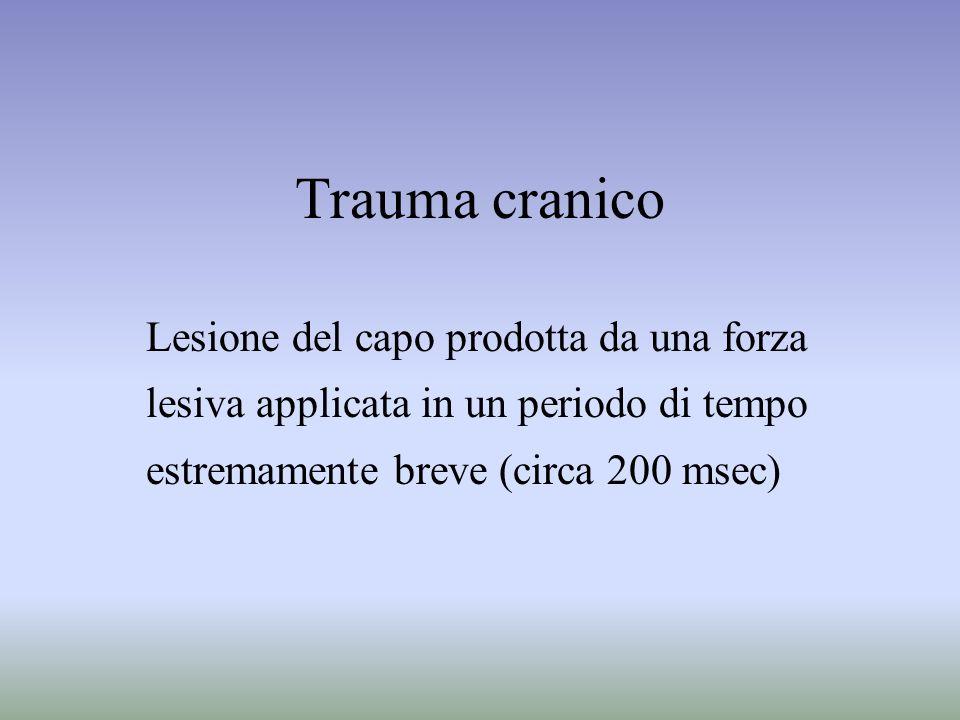 Trauma cranico Lesione del capo prodotta da una forza lesiva applicata in un periodo di tempo estremamente breve (circa 200 msec)
