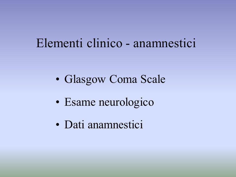 Elementi clinico - anamnestici Glasgow Coma Scale Esame neurologico Dati anamnestici