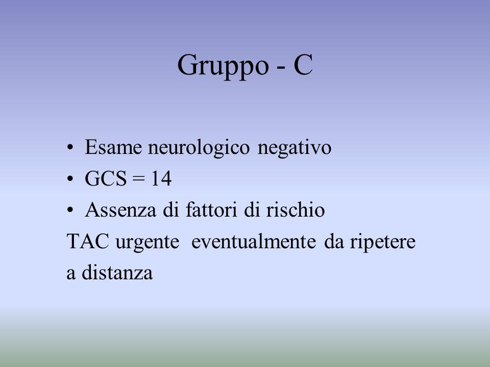Gruppo - C Esame neurologico negativo GCS = 14 Assenza di fattori di rischio TAC urgente eventualmente da ripetere a distanza